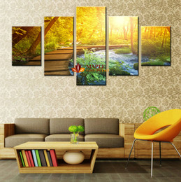5 Piece Woods And Waterfalls Modern Home Wall Decor Canvas Picture Art HD Print Painting On For Living Room