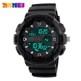 Wholesale SKMEI Brand Waterproof Sports Men Watches LED Digital Black Dual Time Display Watches Fashion Military Outdoor Wristwatches