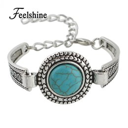 Discount antique silver bangles for women - Wholesale- Indian Jewelry Bohemian Style Antique Silver Color Chain with Round Blue Stone Charm Bracelets Bangles for Wo