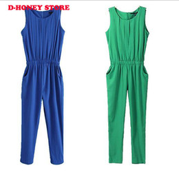 Combinaisons Vertes Pour Femmes Pas Cher-2017 Sexy Fashion Summer Women Jumpsuits Long Harem Pants Europe sans manche Pocket Blue green Chiffon Crew Neck Jumpsuit Stock