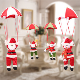 Wholesale Christmas Home Decor Santa Claus Snowman Parachute Christmas Tree Hanging Ornaments Xmas Festival Decoration Drop Pendant Gifts