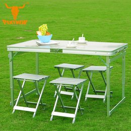 Wholesale  Outdoor Camping 120x70x69CM High End Aluminum Split Lift Chairs  Five Piece Portable Folding Table Desk Furniture Outdoor Picnic Inexpensive  ...