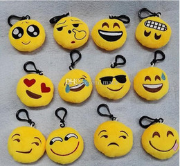 Figure Emotions NZ - 6*6*2cm Emoji Plush Keychain Toy Yellow Emoji Emotion Keyring Key Chain Ring Bag Pendant Kid Children Party Christmas Promotion Gift