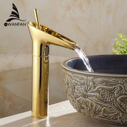 $enCountryForm.capitalKeyWord NZ - Wholesale- Hot Sale Wholesale and retail Promotion Waterfall Bathroom Golden Faucet Single Handle Vanity Sink Mixer Tap Deck Mount AL-9207K