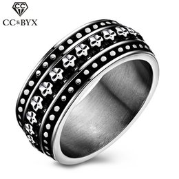 midi stainless steel rings for men wholesale punk wind skull paint fashion jewelry wedding band cocktail ring accessories party gift cc550 - Skull Wedding Rings For Men