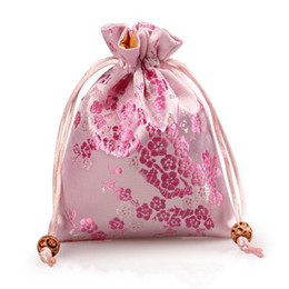 Silk Perfume Canada - Cherry blossoms Small Drawstring Cloth Gift Bag Silk Brocade Jewelry Packaging Pouch Lavender Spice Sachet Perfume Storage Pocket with Lined