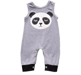 Panda Ropa Niño Baratos-2017 Niños Niñas Baby Jumpsuits algodón sin mangas recién nacido Rompers Ropa Dibujos animados Panda niño Onesies Summer Home Bodysuit Infant Clothes