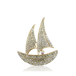 wedding crystal suits men Australia - Quality Shiny Crystal Rhinestone Lucky Sail Boat Brooch for Women Men Suits Pin Brooch Wedding Brooches 18K Gold Plated Jewelry