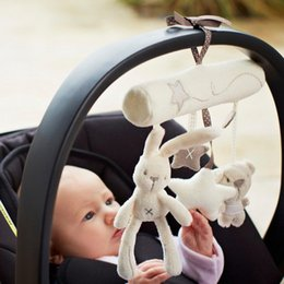 Baby Rattle Rabbit Australia - Wholesale- Rabbit Plush Music Rattles Baby Toys Bed Safety Seat Car Stroller Hanging Bell Plush Toys Hot Educational Baby Rattle Tinkle Toy