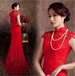 modern chinese wedding dress lace 2019 - Lace Material Red Color Luxury Chinese Traditional Wedding Dress Qipao Mermaid Wedding Dresses mermaid wedding Vestido D