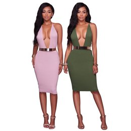 Barato V Neck Bodycon Plunge Dress-2017 Sexy Plunging V Neck Bodycon Club Vestido Crisscross Backless Metal Belt Stretch Party Dress On Sale