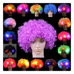 Wholesale Fancy LED Light Curly HairWigs Halloween Costume Hair Party Supplies New Cosplay Unisex Clown Mask Hogard Christmas Gift DHL