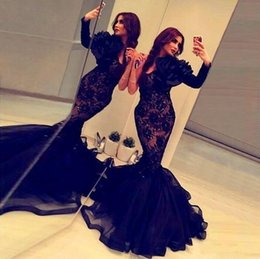 Barato Uma Manga Vestido De Baile Barato-2017 Sexy Black Mermaid celebridade vestidos Long Africano Prom Gowns vestidos de noite formal Cheap Party one sleeve Lace gravidez Dress 2016 qw