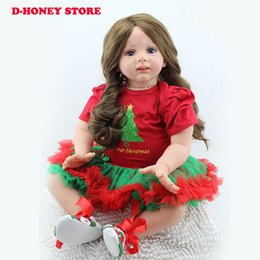 "$enCountryForm.capitalKeyWord UK - Large size 24"" 60CM doll reborn for girls toys silicone baby bonecas lifelike long hair red dress dolls girls christmas gift"