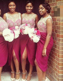 $enCountryForm.capitalKeyWord NZ - 2017 Lace Top Short Bridesmaid Dresses Split Front Formal Burgundy Skirt Fuchsia Chiffon Bridesmaids Gowns Cheap sale under 80