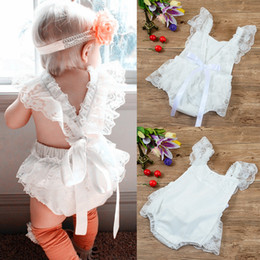 Barato Grossista-2017 Baby Girl Lace Bow Rompers Bebês Princesa Cute Jumpsuits Bebe Summer Romper childrens Wholesale clothing
