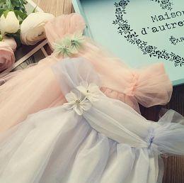 $enCountryForm.capitalKeyWord NZ - 2017 Summer Girls Lace Tulle Dress Baby Kids Suspender Cotton Flower Dress Children Princess Casual Sundress Blue Pink