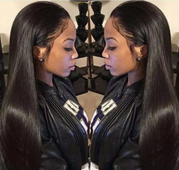 28 inch full lace wigs Canada - 100% Brazilian Virign Remy Human Hair Free shipping 10-28 inch STOCK Silky Straight African American Glueless Full Lace Wig Front Lace Wig