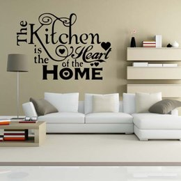 For Kitchen Heart Home Quote Wall Stickers Funny Art Dining Room Removable Decorate Decals DIY