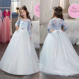Barato Frisada Flor Faixa-Lovely Girls White Blue mangas compridas Vestidos de vestir formal A Line Jewel Neck Lace Tulle Kids Vestidos de desfivura Beaded Sash Flower Girl Dresses