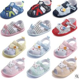 Barato Sapatas Dos Animais Para Bebês-Baby Sandals Stripe Animal Cotton Shoes Summer Rabbit Cartoon Toddler Soft Bottom Shoes Criança Moda Calçado Toddler Princess Sandals J425
