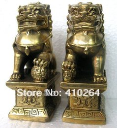 brass items NZ - 0116P fast shipping Chinese Foo Dog Lion Fu Bronze Statue Pair Figurines Feng Shui Items Oriental sz:11x6x8.3cm (A0321)