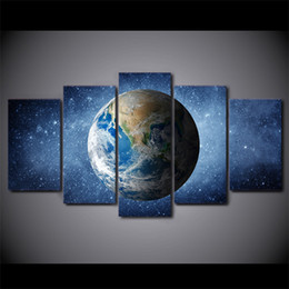 animal picture frames 2019 - HD Printed 5 Piece Canvas Art Space Universe Stars Painting Blue Earth Wall Pictures for Living Room Free Shipping disco