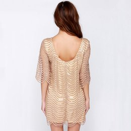 robes de changement achat en gros de-news_sitemap_homeTIONG Golden Wave Robe En Dentelle À Paillettes Femmes Dos Nu Bla Sheer Shift Robes Cut Out Sequin Maille Robe Droite Robe Robes