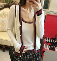 Barato Pescoço Alça Lã Botões-Mulheres Designer Wool Cardigan 2017 Spring Autumn Pear Button Single Breasted V Neck Long Sleeve Sweater Strap Tank Top Casual Sets