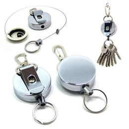 Chiave Organizzazione Porta chiavi portachiavi in metallo retrattile con porta badge in metallo con clip in acciaio inox B109Q