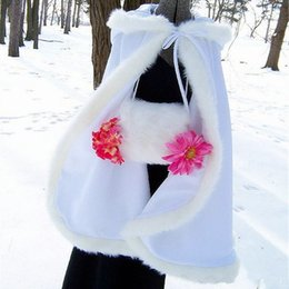 Wholesale plus size faux fur capes resale online - Plus size Winter Bridal Cape Faux Fur Wedding Cloaks Hooded Perfect For Winter Wedding Bridal Cloaks Abaya