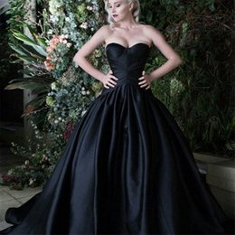 La Robe Sur Mesure À La Chine À Bas Prix Pas Cher-Cheap Clothes China Vestidos De Noite Para A Festa 2017 Off The Shoulders Black Satin Ball Gown Robes de soirée Custom Made