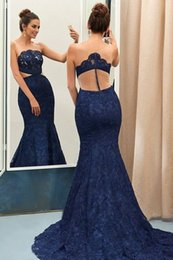 Colored Lace Prom Dress Navy