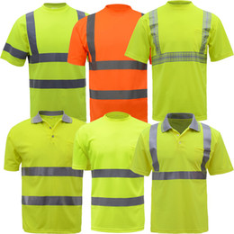 polo clothes wholesale NZ - Summer High visibility safety work shirt breathable work clothes safety reflective t-shirt safety polo shirt free shipping