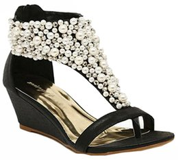 China The New Rhinestone zipper pearl beaded high heels gold black wedges sandals women shoes summer size 35-39 suppliers