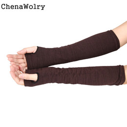 hand knit mittens 2019 - Wholesale- ChenaWolry 1Pair Women's Fashion Lovely Winter Wrist Arm Hand Warmer Knitted Long Fingerless Gloves Mitt