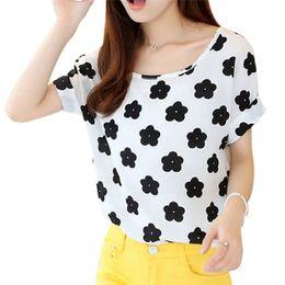 $enCountryForm.capitalKeyWord Canada - Wholesale- Women Chiffon T-Shirts Female Clothing Tops Girls Loose Short Sleeve Striped Shirts New Sale