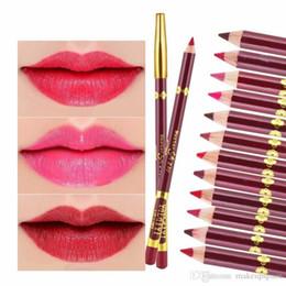 Dark Blue Lipstick Wholesale Canada - Cosmetic Lipliner Pencil Waterproof Lipstick Lip Liner Set Kyli Lip Liner Pencil Long Lasting makeup tools matt velvet lipline pen lip gloss