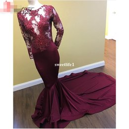 Green Silk Dress Lace NZ - Latest Designs Burgundy Sexy Mermaid Evening Dresses Long 2017 Lace Long Sleeve Prom Dress Formal Cheap Party Gowns Turkish
