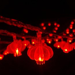 Wholesale 10m Mini 100 Led Waterproof Chinese Red Lantern Lights String For Christmas Wedding Home Party Countyard Outdoors Decoration