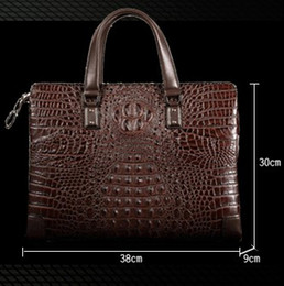 Leather brown briefcase online shopping - Top quality Men leather Briefcases Imported genuine Crocodile leather Men buisness Crossbody perfect work Laptop Ipad Ideal bags