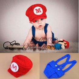 Housses De Couches De Photos Pas Cher-Super Mario Inspiré Crochet HatDiaper Cover Set Crochet Vêtements pour bébé Newborn Baby Crochet Photo Props 1set