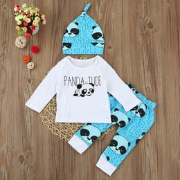 Panda Shirt Girl Pas Cher-2018 Spring And Autumn Ins Hot Baby Boy Girl Outfits Cartoon Panda Top T-shirt + PP Pantalons + Hat 3pcs Cotton Newborn Baby Christmas Outfits