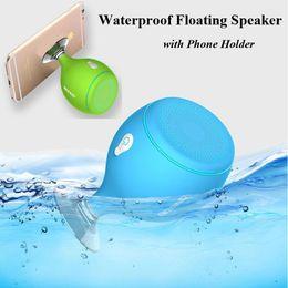 Sucker Mini Speaker Canada - Mini Whale Tail Floating IPX6 Waterproof Shower Portable Bluetooth Hifi Speaker with Sucker Mobile Phone Holder Stands Led Light Speakers