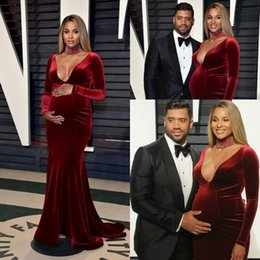 $enCountryForm.capitalKeyWord Canada - 2017 Hot Burgundy Velvet Evening Dresses with Long Sleeves Sexy Plunging V Neck Mermaid Maternity Celebrity Dresses Party Red Carpet Gowns