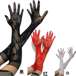 Hollow Fingers Canada - Wholesale Price Long Lace Hollow-Out Finger Gloves Skid Resistance Pattern Lace Wedding Gloves Sun Protection Accessories