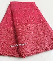 China coral red Scottish style beaded African lace sewing french lace tulle fabric 5 yards high quality suppliers