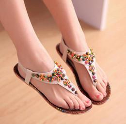 b31090276 Bohemian flat sandals Brown online shopping - Sexy Bohemian bead sandals  Sweet national wind folder feet
