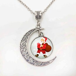 $enCountryForm.capitalKeyWord Australia - New Arrival Father Christmas White Mustache Moon Pendant Necklace Glass Cabochon Sun Necklace For Women Best Gift