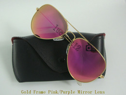 Sun Glasses Black Australia - 1Pair Mens Womens Designer Colorful Sunglasses Pilot Sun Glasses Gold Frame Flash Pink Purple Mirror Glass Lenses 58MM 62MM With Black Case